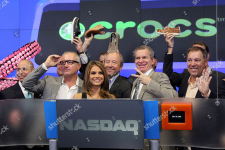 Stock Photo of Crocs Founder George Boedecker and Maria Menounos