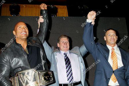 Dwayne Johnson, Vince McMahon and John Cena