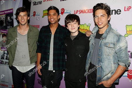 Greyson Chance and Allstar Weekend (L-R: Zach Porter, Michael Martinez, Greyson Chance and Cameron Quiseng)