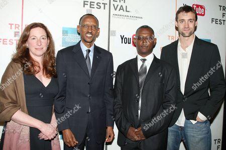 Stock Photo of Deborah Scranton, Rwandan President Paul Kagame, Jean-Pierre Sagahutu and Reid Carolin