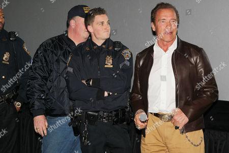Joseph Quinn (Transit Bureau Director, Sergeants Benevolent Association), Matt Bergen, Arnold Schwarzenegger