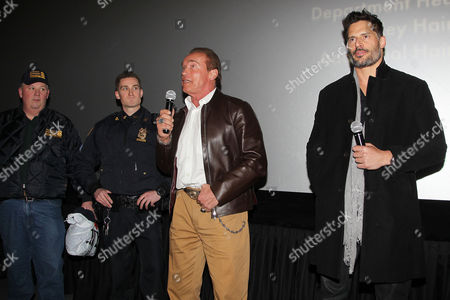 Joseph Quinn (Transit Bureau Director, Sergeants Benevolent Association), Matt Bergen, Arnold Schwarzenegger and Joe Manganiello
