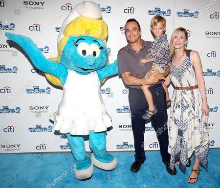 Hank Azaria, Katie Wright, Hal Azaria and Smurfette