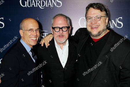Stock Photo of Jeffrey Katzenberg, William Joyce and Guillermo Del Toro