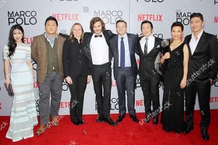 Zhu Zhu, Benedict Wong, Cindy Holland (Netflix VP of Original Content), Lorenzo Richelmy, Ted Sarandos (Netflix Chief Content Officer), Chin Han, Joan Chen, Rick Yune