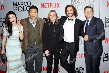 Zhu Zhu, Benedict Wong, Cindy Holland (Netflix VP of Original Content), Lorenzo Richelmy, Ted Sarandos (Netflix Chief Content Officer)