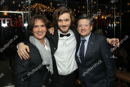 John Fusco (Co-Creator, Executive Producer) Lorenzo Richelmy and Ted Sarandos (Netflix Chief Content Officer)