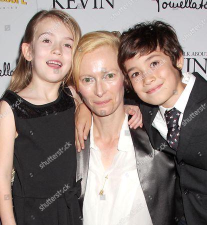 Ashley Gerasimovich, Tilda Swinton and Jasper Newell