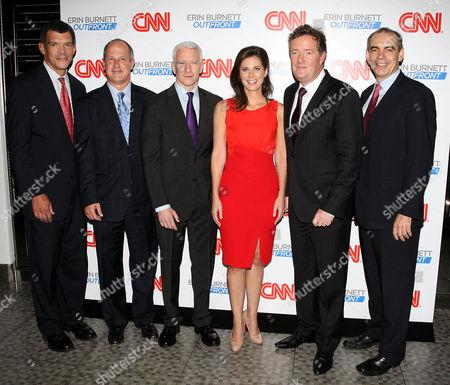 Stock Picture of Mark Whitaker, Jim Walton, Anderson Cooper, Erin Burnett, Piers Morgan