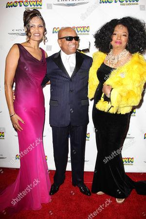 Berry Gordy with girlfriend Eskedar Gobeze and Diana Ross