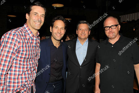 Stock Image of Jon Hamm, Paul Rudd, Ted Sarandos (Chief Content Officer; Netlfix) and Louis CK