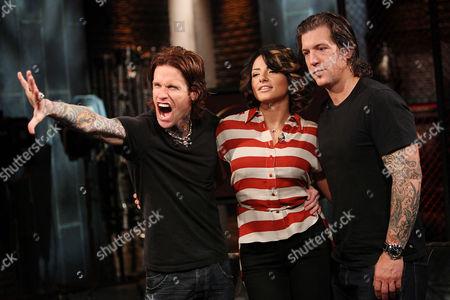 Buckcherry (Josh Todd and Keith Nelson) with Juliya Chernetsky (Fuse Host)