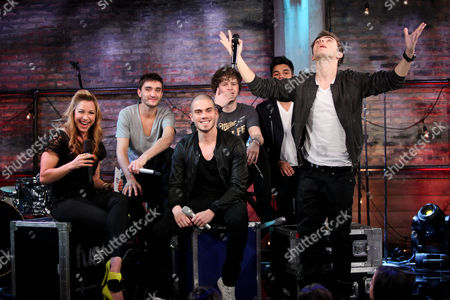 The Wanted - Siva Kaneswaran, Jay McGuiness, Max George, Tom Parker and Nathan Sykes - with host Allison Hagendorf