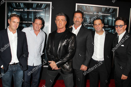 Stock Picture of Kevin King Templeton, Brandon Grimes, Sylvester Stallone, Arnold Schwarzenegger, Randall Emmett and Mark Canton