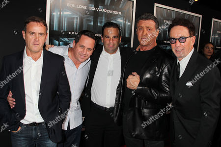 Stock Image of Kevin King Templeton, Brandon Grimes, Randall Emmett, Sylvester Stallone and Mark Canton