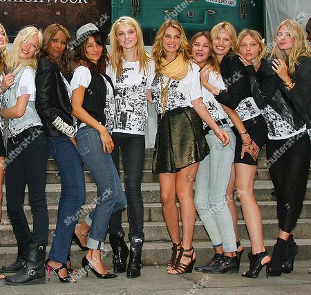 Iman,Helena Christiansen and Karolina Kurkova with models