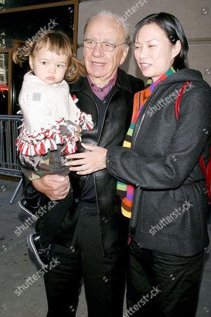 Rupert Murdoch and daughter Grace with wife Wendi Deng