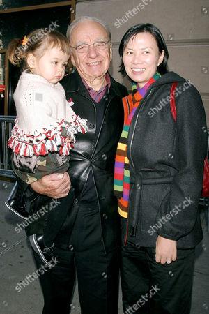 Rupert Murdoch with daughter Grace and wife Wendi Deng