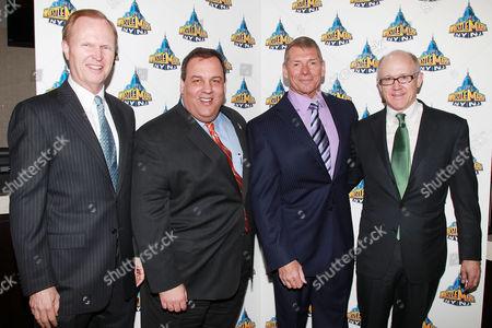 John Mara, Chris Christie, WWE Chairman and CEO Vince McMahon and Woody Johnson
