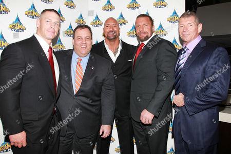 John Cena, Chris Christie, Dwayne Johnson, Paul Levesque and Vince McMahon