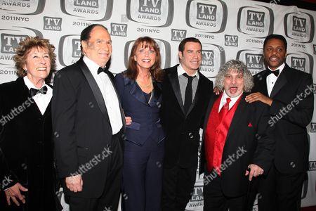 Ellen Travolta, Gabe Kaplan, Marcia Strassman, John Travolta, Robert Hegyes and Lawrence Hilton-Jacobs