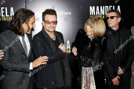 Stock Image of Justin Chadwick, Bono, Anna Wintour, Larry Mullen Jnr.