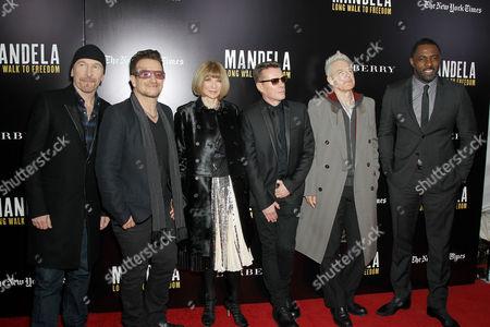 The Edge, Bono, Anna Wintour, Larry Mullen Jnr, Adam Clayton, Idris Elba