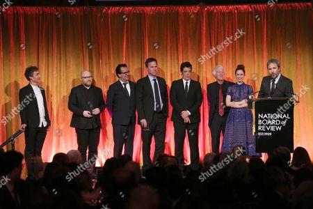 Stock Image of Denis Villeneuve, Roger Deakins, Joe Walker, Johann Johannsson, Emily Blunt, Benicio Del Toro, Basil Iwanyk