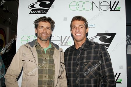 Stock Picture of Steve Ward, VP Sales and Marketing for O'Neill US and Corey Lopez, Surfer/O'Neill Team Rider