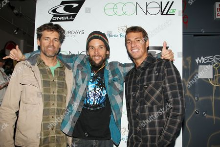 Steve Ward, VP Sales and Marketing for O'Neill US, Mishka and Corey Lopez, Surfer/O'Neill Team Rider