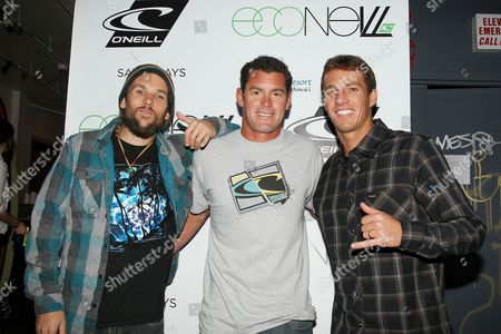 Stock Photo of Mishka, James Pribram and Corey Lopez, Surfer/O'Neill Team Rider
