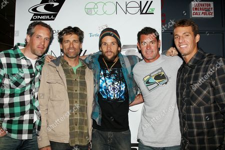 Sascha Weil, Marketing O'Neill Europe, Steve Ward, VP Sales and Marketing for O'Neill US, Mishka, James Pribram and Corey Lopez, Surfer/O'Neill Team Rider