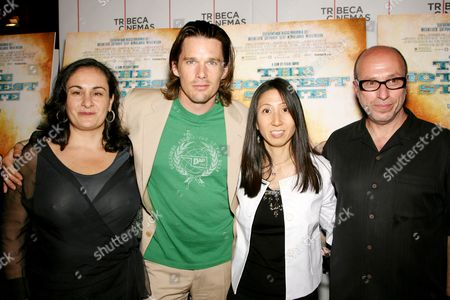 Stock Picture of Alexis Alexanian (producer),Ethan Hawke (director), Yukie Kito (producer),Mark Urman (head of US Theatrical ThinkFilm)