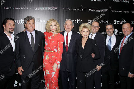 James Vanderbilt (Director), Tom Bernard (Co-Pres. SPC), Cate Blanchett, Dan Rather, Mary Mapes (Author), Michael Barker (Co-Pres. SPC), Brad Fischer, William Sherak (Producers)