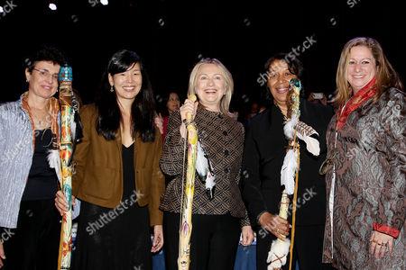 Ana L. Oliveria, Ai-jen Poo, Hillary Clinton (Secretary of State), guest and Abigail E. Disney