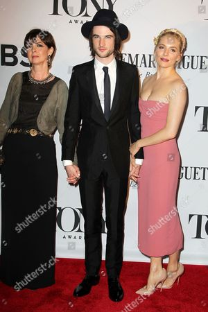 Stock Picture of Tom Sturridge with mother Phoebe Nicholls, Sienna Miller