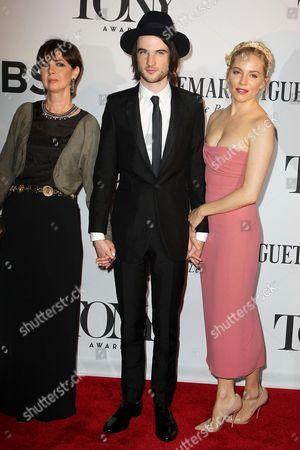 Stock Image of Tom Sturridge with mother Phoebe Nicholls, Sienna Miller