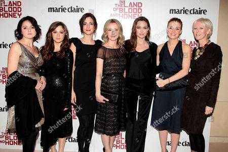 Vanesa Glodjo, Jelena Jovanova, Zana Marjanovic, Dzana Pinjo, Angelina Jolie and Joanna Coles (Editor-in-chief of Marie Claire)