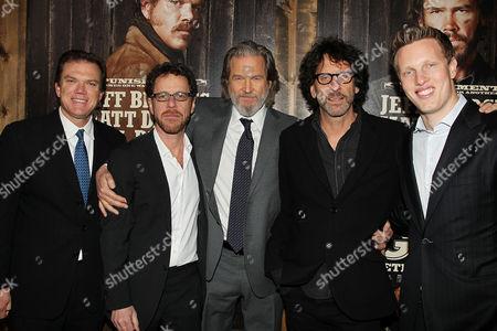 Stock Picture of Paul Schwake, Ethan Coen, Jeff Bridges, joel Coen and David Ellison