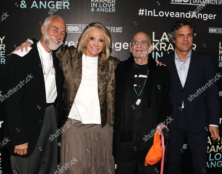 William David Webster, Sheila Nevins (Pres., HBO Documentary Films & Family), Larry Kramer and Mark Ruffalo