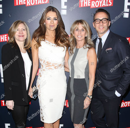 Frances Berwick (Pres; Lifestyle Networks NBCU), Elizabeth Hurley, Bonnie Hammer (Chairman; NBCU) and Adam Stotsky (GM; E!)