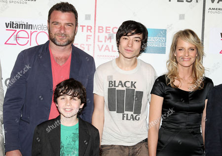 Stock Picture of Liev Schreiber, Skylar Fortgang, Ezra Miller and Helen Hunt