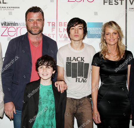 Stock Photo of Liev Schreiber, Skylar Fortgang, Ezra Miller and Helen Hunt