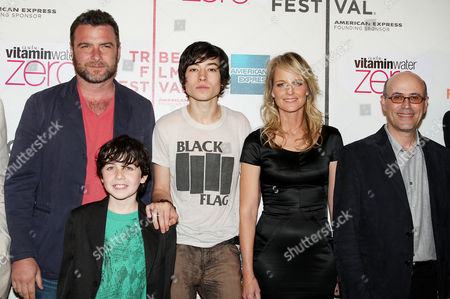 Liev Schreiber, Skylar Fortgang, Ezra Miller, Helen Hunt and Richard Levine (Director)