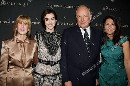 Annie Schulhof, President of the NBR, Anne Hathaway, Nicola Bulgari and wife Beatrice Bulgari