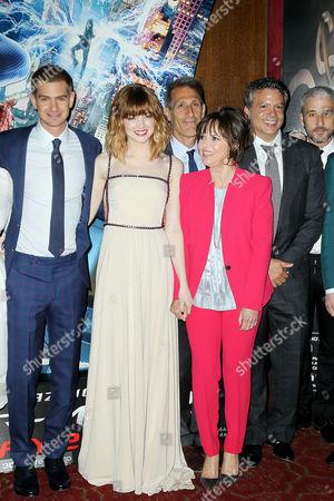 Andrew Garfield, Emma Stone, Michael Lynton, Sally Field, Matthew Tolmach