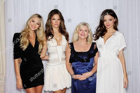 Candice Swanepoel, Alessandra Ambrosio, Sharen Turney(EVP, President & CEO of Victorias Secret) and Miranda Kerr,