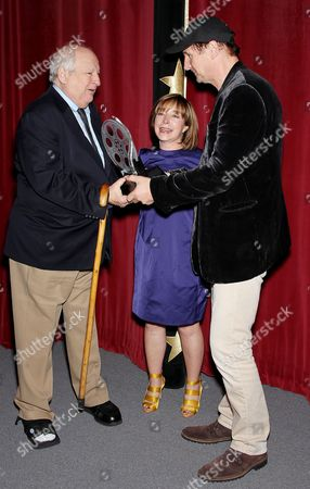 Stock Image of Bobby Zarem, Paula S Wallace (Pres. and Co-founder SCAD) and Liam Neeson