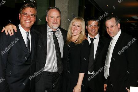 Aaron Sorkin, David Fincher (Director), Cean Chaffin, Michael De Luca and Ben Mezrich