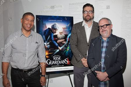 Peter Ramsey (Director), Patrick Hanenberger (Production Designer) and William Joyce (Book Author)